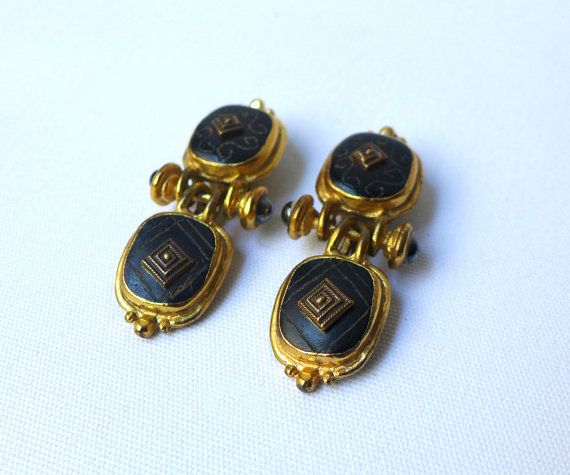 Vintage 1980s St Tropez gold tone black and gold by evaelena, $76.00