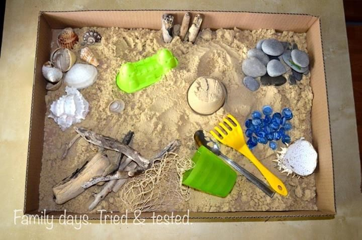 Small themed boxes  - Beach Box - from Family days. Tried & tested.