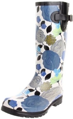 Nomad Womens Puddles Rain Boot in blue and white pattern