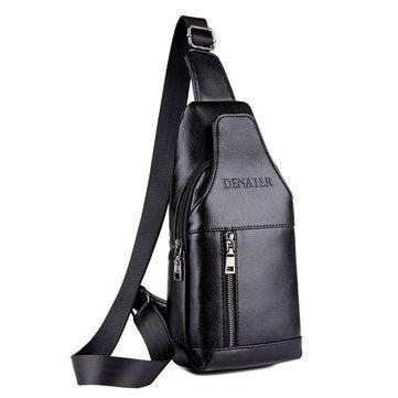 Waterproof PU Leather Crossbody Bag Solid Shoulder Bag Casual Chest Bag For Men