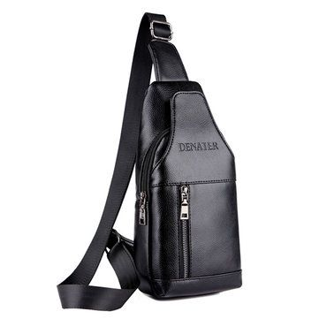 Waterproof PU Leather Crossbody Bag Solid Shoulder Bag Casual Chest Bag For Men