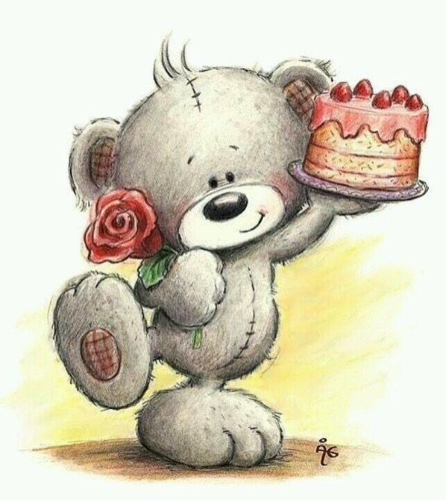 Открытки с днем рождения с мишками тедди и цветами