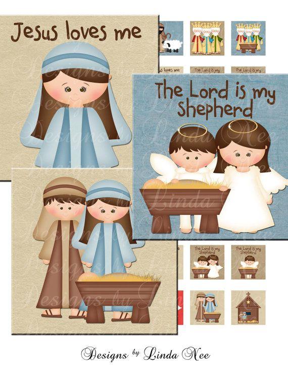 Instant Download - CHRISTmas Nativity Kids (1 x 1 inch) bottlecap Digital Collage Sheet - sticker magnet Chistmas Jesus Tweens