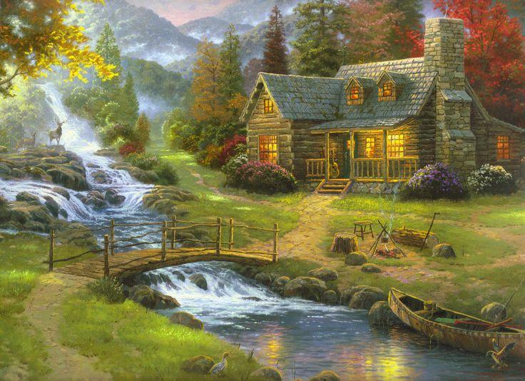 thomas kinkade | natureza, floresta, pintura, casa, Thomas Kinkade, guitarra, Minerao ...