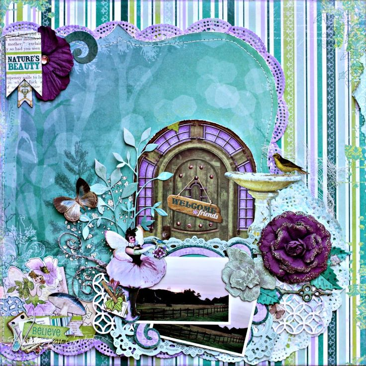 Nature's Beauty Scrapbook Page by Rhonda Van Ginkel using BoBunny Enchanted Garden Collection. #BoBunny @snapwhiz