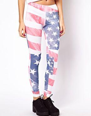 Leggings à imprimé drapeau américain vieilli sur Asos.com ♥