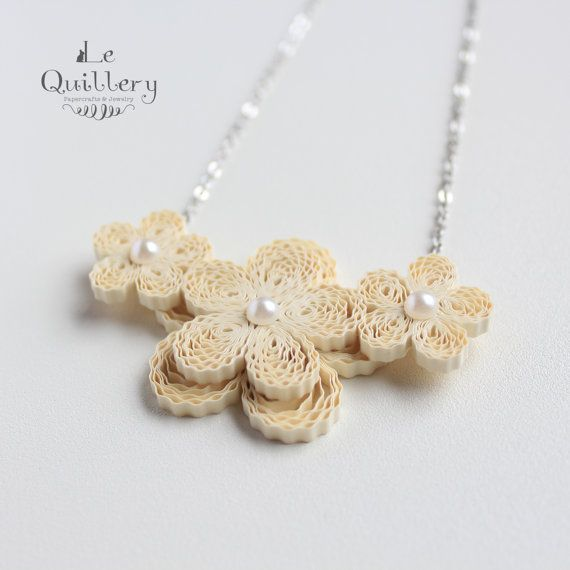 Quilling Jewelry OOAK Quilled Paper Flower Necklace by LeQuillery, $23.00