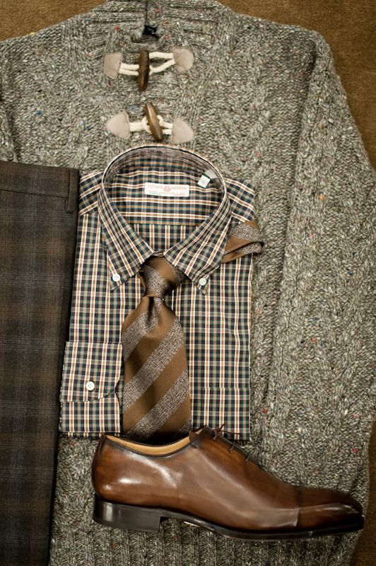 Keeping it Italian today! Donegal toggle sweater from Gran Sasso, shirt from Luciano Barbera, grey/brown/charcoal trousers from Incotex, tie from Brioni. and reverse-stitch cap-toe from Scarpe Di Bianco.