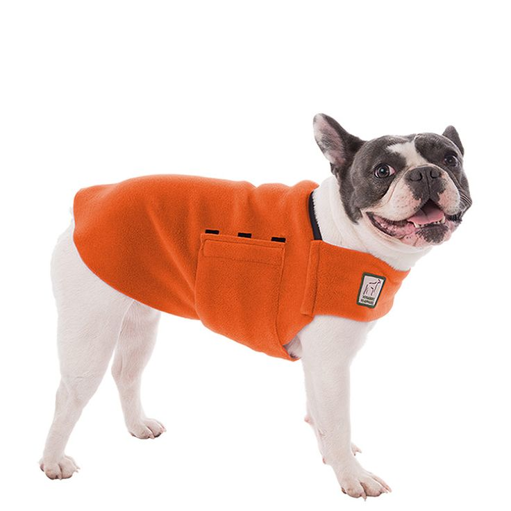 Orange French Bulldog Dog Tummy Warmer, great for warmth, anxiety and laying with our dog rain coat. High performance material. Made in the USA.