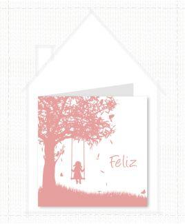Lief meisjes geboortekaartje met silhouette van boom en meisje op schommel