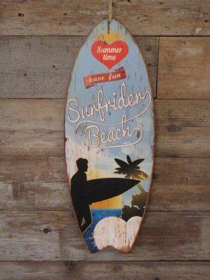 Houten wandbord Surfplank met de tekst Surfrider Beach blauw wit rood 78x30x1 cm