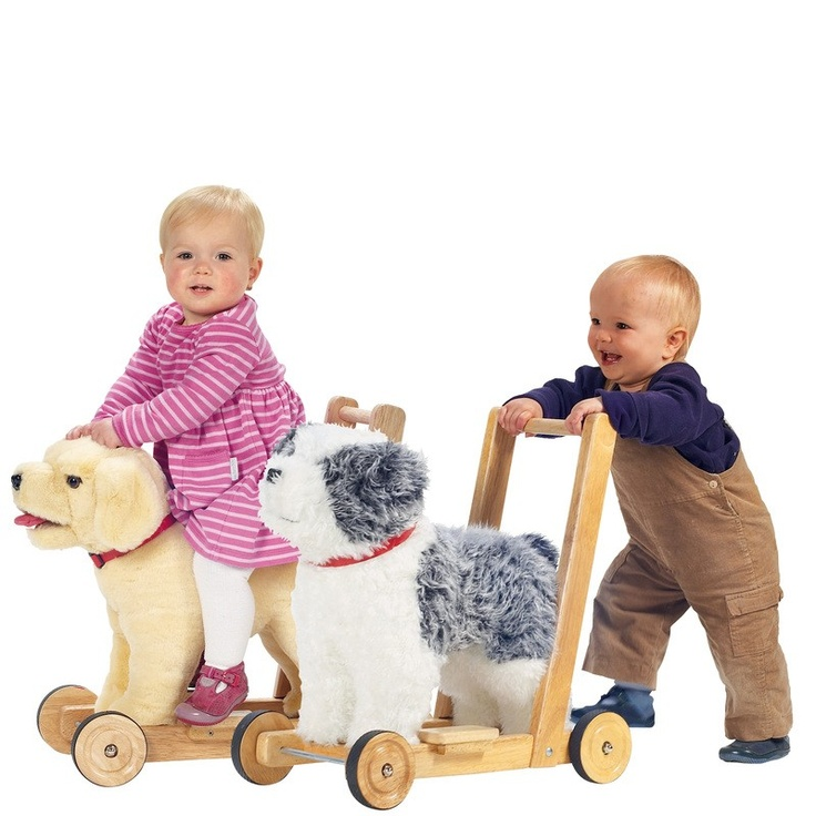 Big push along dogs for small children to enjoy in many different ways. This cute and cuddly toy is sturdy enough to be ridden and is also mounted on wheels, ready to be eagerly pushed along.