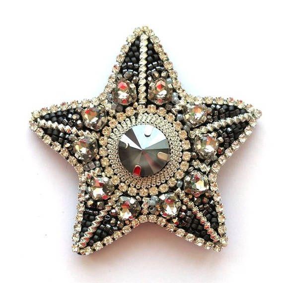 Star Brooch Silver Star Beadwork Order Brooch Handmade