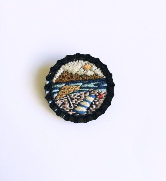Miniature hand embroidered summer landscape pop door BaobapHandmade, $30.00