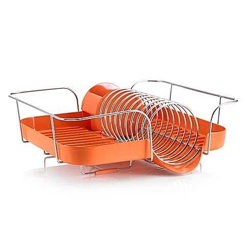 The eclectic design of the Polder Spring Dish Rack makes it a must have for your kitchen. Made of rust-resistant steel, this stylish dish rack has plenty of space for glasses and bowls, and comes complete with a removable utensil bin.