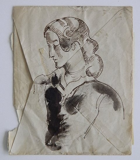 William Sommer, Woman Study, pen and ink and wash on envelope