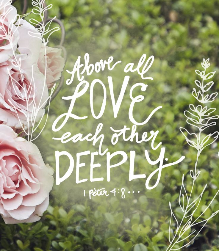 Above all love each other deeply. 1 Peter 4:8