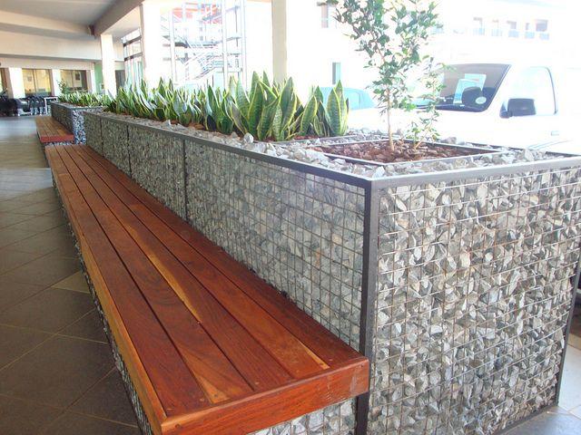 Gabion planter and bench by Badec Bros Deco, via Flickr