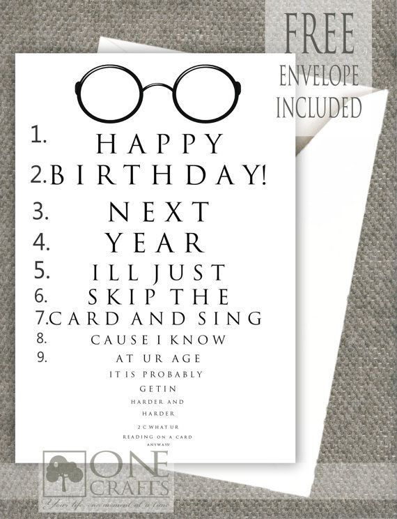 Funny Eye Exam Birthday Card: Customized Handmade Greeting Card