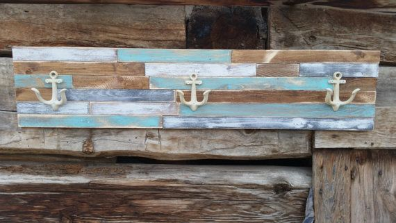 Nautical Coat Rack, Beach Theme Coat Rack, Rustic Beach Wall Hanging,Nautical Wall Decor,Beach Colors, anchor hooks, Beach Towel Rack