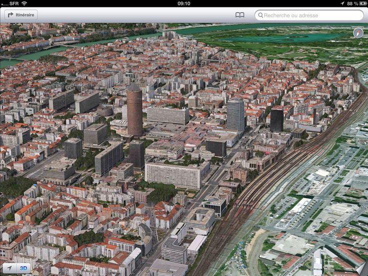 La ville de Lyon dans Plan sous iOS 6
