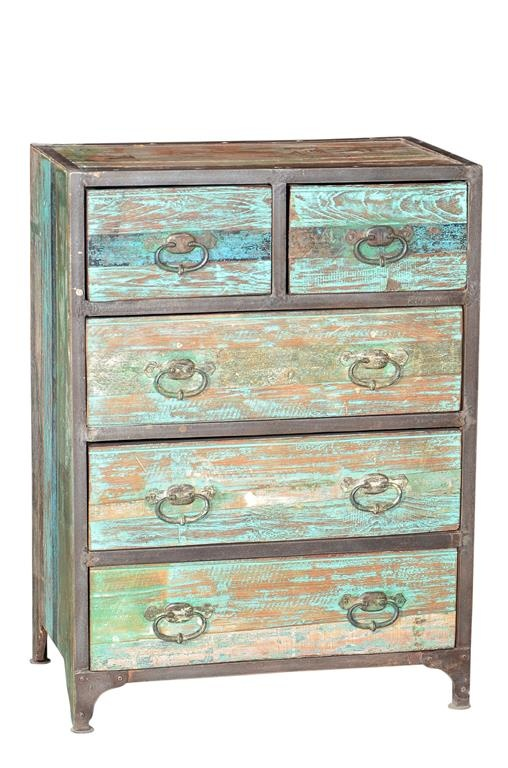 Vintage Industrial Drawer, Reclaimed Teak Wood