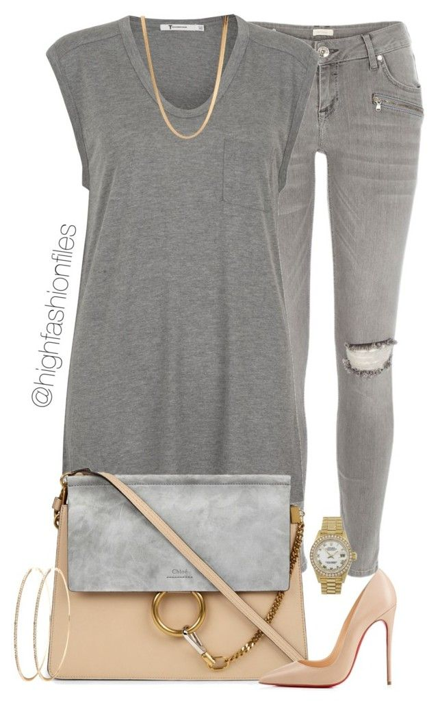"""Grey x Nude"" by highfashionfiles ❤ liked on Polyvore featuring River Island, T By Alexander Wang, Chloé, Christian Louboutin, Rolex and ASOS"