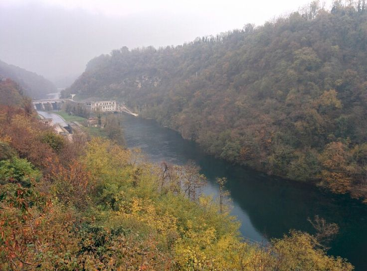 Scenic autumn with hydroelectric power plant