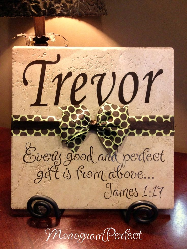 Personalized, Monogrammed Baby Boy Decorative Tile, Baby Shower or Adoption Gift. $29.99, via Etsy.