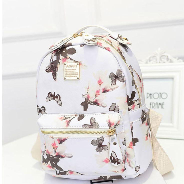 Женщины рюкзак 2016 горячая распродажа мода причинно высокое качество цветочные печать искусственная кожа рюкзаки для девочек, Mochila BBP075 купить на AliExpress