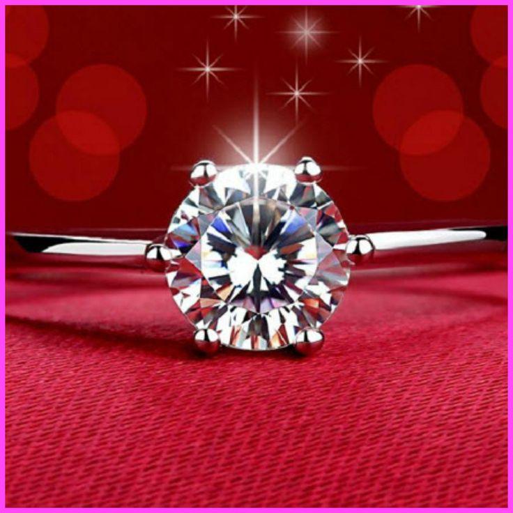 Engagement Ring 18K Rose Gold Zircon Diamond