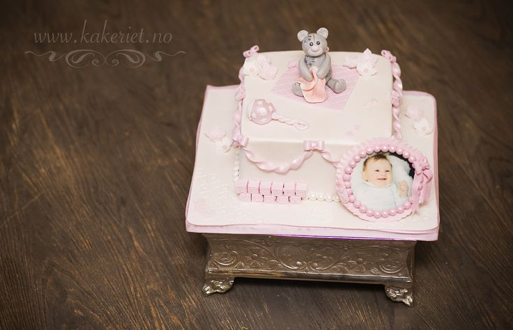 Christening cake with teddybear and an edible photo in frame :)