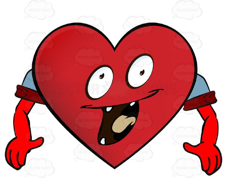 Excited Heart Smiley With Open Mouth, Tongue and Four Teeth, Arms Wearing Rolled Up Sleeves #animated #arms #computer #delighted #eager #ecstatic #emotion #excited #expression #eyes #face #feeling #hands #heart #icon #laughing #mood #PDF #smiley #thrilled #vectorgraphics #vectors #vectortoons #vectortoons.com