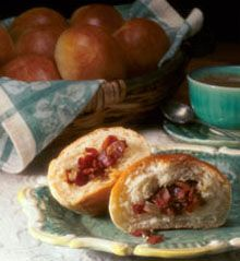 Lithuanian Bacon Buns Recipe | Holiday and Specialty Breads | Delicious Appetizer Roll, or Half a Meal! Beneath the Thin Crust is Fluffy, Rich Bun with a Surprise Center Makes 12 Buns
