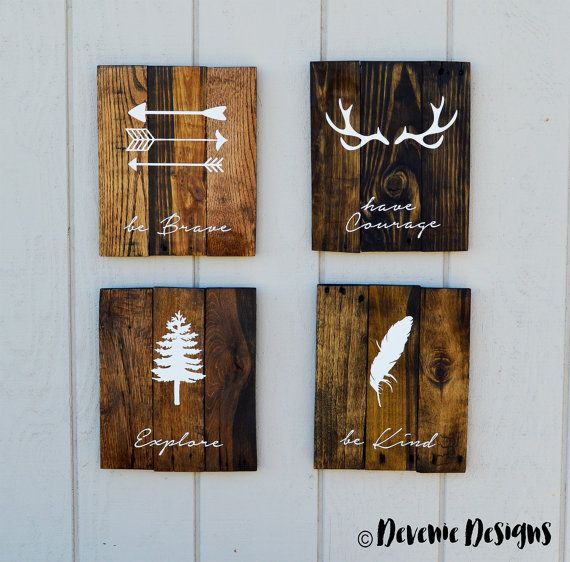 "14x18"" be Brave - have Courage - Explore - be Kind - Original - Reclaimed Wood - Set of 4 - Woodland Nursery"