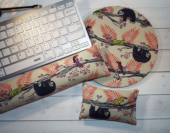 sloth Mouse pad set  mouse wrist rest  keyboard rest  chic / cute / preppy / computer, desk accessories / cubical, office, home decor / co-worker, student gift / patterned design / match with coasters, wrist rests / computers and peripherals / feminine touches for the office / desk decor