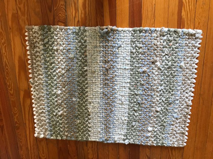 Rag rug Taupe Gray Blue Hand Loomed Rug Repurposed Accent
