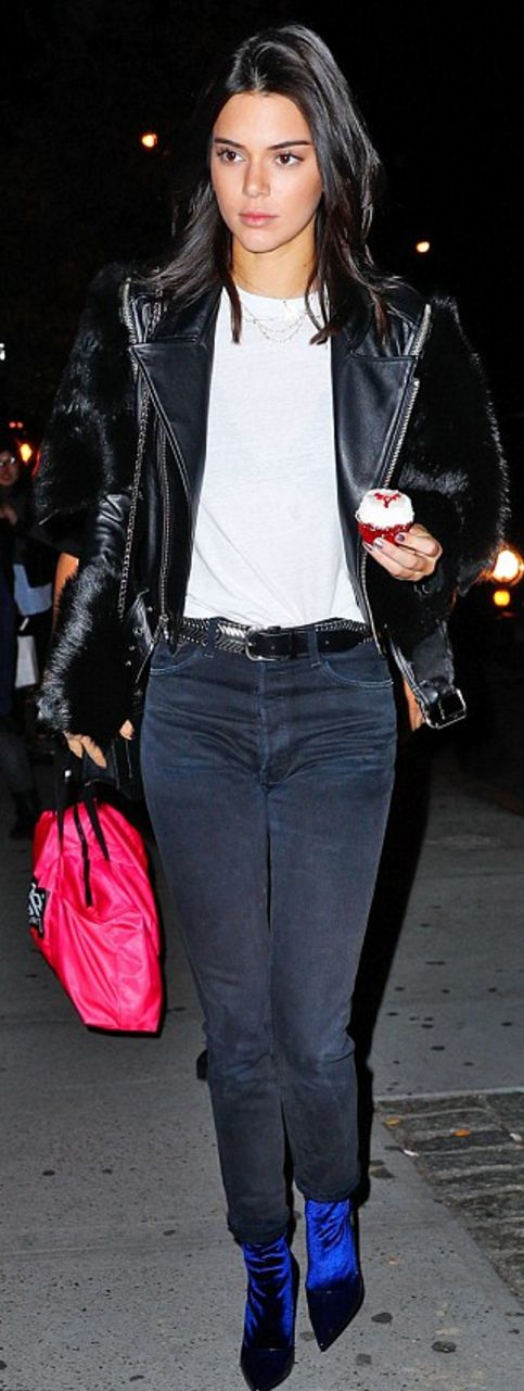 Kendall Jenner in Jacket – Saint Laurent  Purse – Givenchy  Belt – Isabel Marant  Shoes – Balenciaga