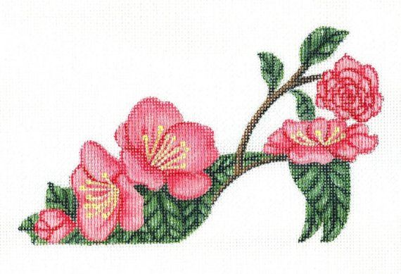 Handpainted Camellia Slipper needlepoint canvas by colors1 on Etsy (Craft Supplies & Tools, Sewing & Needlecraft Supplies, Canvas & Stitchables, camellia flower, flower, slipper, decoration, home decor, embroidery, cross stitch, needlepoint, needlepoint canvas, needlepoint pillow, needlepoint pattern, needlecraft, funny needlepoint)
