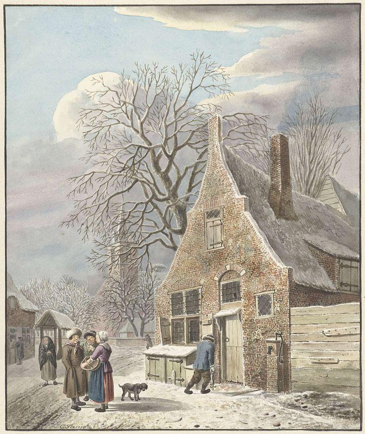 Dorp onder sneeuw, Johannes Christiaan Janson, 1773 - 1823
