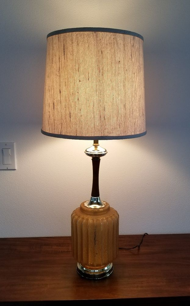 VTG Mid Century/Hollywood Regency Glam Amber Glass/Wood/Gold Table Lamp + SHADE #HollywoodRegency