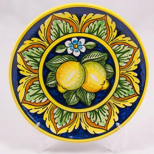 #Souvenir #Plate: #Italy. #Sicily. Two Lemons on Dark Blue Background. #Caltagirone #Ceramics. Hand Made. Diameter 20 cm