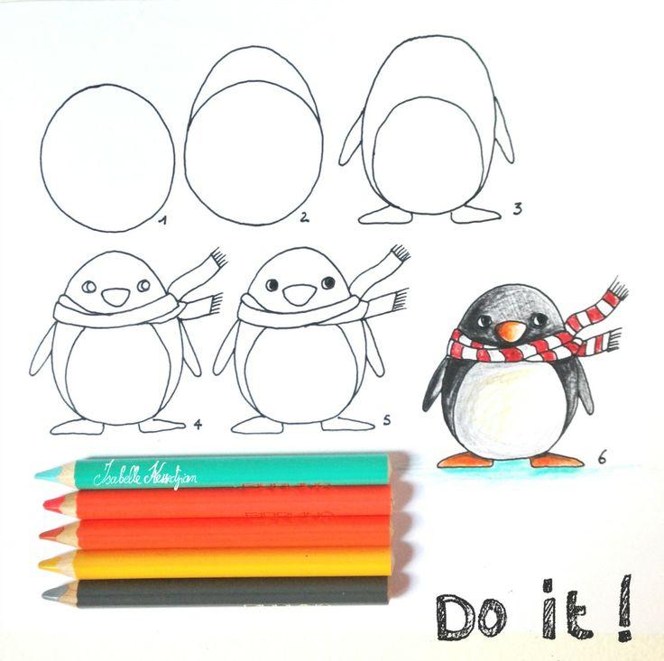 atelier terre de sienne: Demain mercredi on dessine au crayon de couleur... Dessine moi au pingouin