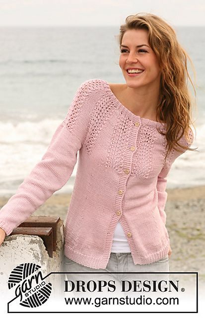 """Ravelry: 127-41 Jacket with rounded yoke with lace pattern in """"Muskat"""" pattern by DROPS design FREE PATTERN"""