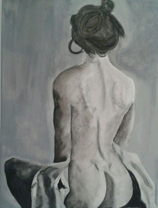 Sitting 24 x30 #nude #woman #MiLaRTiZe #blackandwhite #beautiful #art #AnnieCharlot #art #acrylicpainting