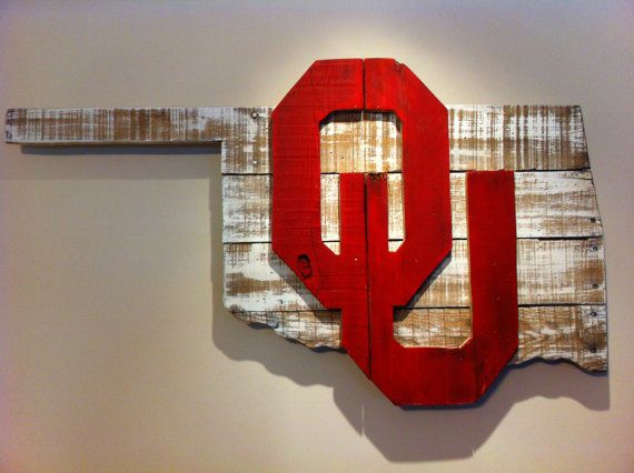 Wooden State of Oklahoma with OU logo by CampgroundProduction