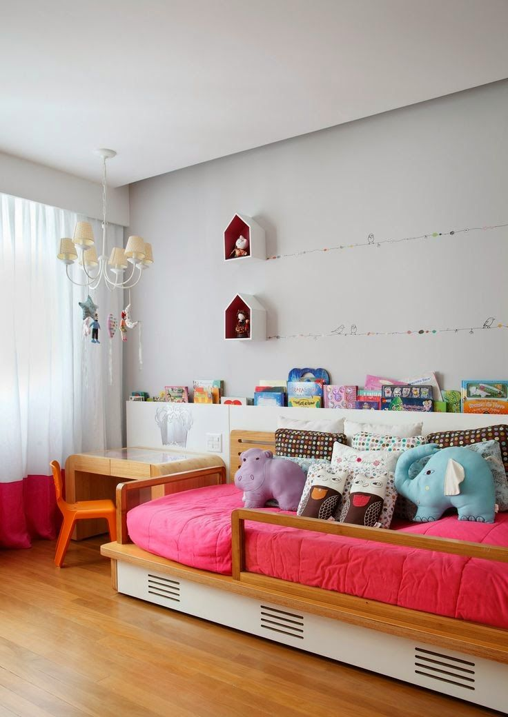 Colorful and poetic girl's room, birds on a wire