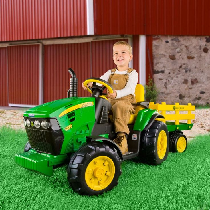 Peg Perego John Deere Ground Tractor & Trailer Battery Powered Riding Toy - IGOR0039