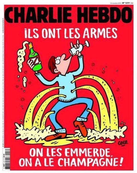 """Revista '#Charlie #Hebdo' se burla de atentados en #París  """"En el dibujo se aprecia un hombre con #agujeros de bala en su cuerpo a través de los cuales cae la bebida que está tomando indica la nota. Hay un texto que dice: ellos tienen las #armas. Qué se vayan a la mierda nosotros tenemos el #champán!. #IslamOriente  Fuente:http://ift.tt/1LkkhEf"""