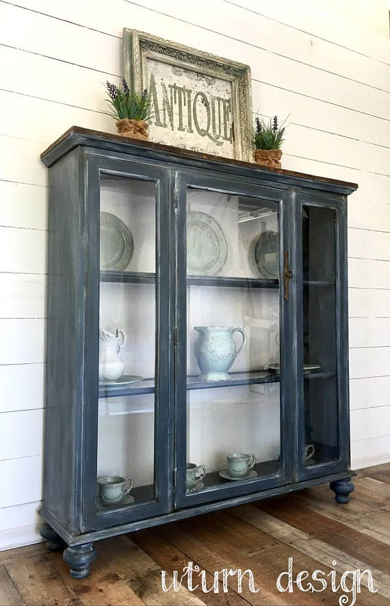 Sold    Dark grey/blue farmhouse hutch rustic painted china